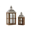 Wood Square Lantern with Pierced Metal Top, Glass and Cross Line Design Side, and Ring Handle Set of Two Natural Wood Finish Brown