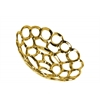 Ceramic Round Concave Tray with Perforated and Chainlink Design SM Polished Chrome Finish Gold