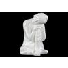 Ceramic Sitting Buddha Figurine with Rounded Ushnisha and Head Resting on Knee Gloss Finish White