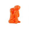 Ceramic Sitting Buddha Figurine with Rounded Ushnisha and Head Resting on Knee Gloss Finish Orange