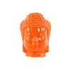 Ceramic Buddha Head with Beaded Ushnisha Gloss Finish Orange