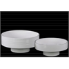 Ceramic Round Flower Pot with Depressed Bottom and Ribbed Side Set of Two Gloss Finish White