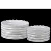 Ceramic Round Flower Pot with Wave Pattern Mouth and Ribbed Side Set of Two Coated Finish White