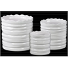 Ceramic Round Flower Pot with Wave Pattern Mouth and Ribbed Side Set of Three Coated Finish White