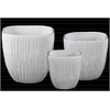 Ceramic Square Flower Pot with Tapered Bottom and Ribbed Side Set of Three Coated Finish White