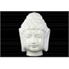 Porcelain Buddha Head with Beaded Ushnisha Gloss Finish White