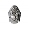 Porcelain Buddha Head with Beaded Ushnisha Polished Chrome Finish Silver