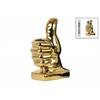 Ceramic Thumbs-Up Hand Sign Pen Holder on Rectangular Base Polished Chrome Finish Gold