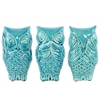 Ceramic Owl  No Evil (Hear/Speak/See) Figurine Assortment of Three Gloss Finish Turquoise