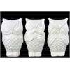 Ceramic Owl  No Evil (Hear/Speak/See) Figurine Assortment of Three Gloss Finish White