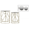 Metal Round Nesting Accent Table with Mirror Top and Round Base Set of Two Metallic Finish Champagne