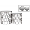 Metal Round Nesting Accent Table with Mirror Top and Teardrop Design Set of Two Metallic Finish Gunmetal Silver