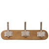 Wood Hanger with 3 Metal Champagne Double Hooks SM Varnished Wood Finish Sienna Brown