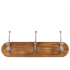 Wood Wall Hanger with 3 Metal Champagne Double Hooks SM Natural Wood Finish Brown