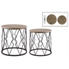 Metal Round Nesting Accent Table with Wood Top and Diamond Lattice Design Body Set of Two Metallic Finish Black
