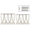 Metal Rectangular Nesting Accent Table with Mirror Top, U-Shaped Design Body and Rectangular Base Set of Two Metallic Finish Gold