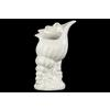 Ceramic Conch Seashell Sculpture on Wave Base Gloss Finish White