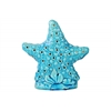 Ceramic Cushion Sea Star Figurine with Cutout Holes and Stand Gloss Finish Blue