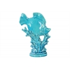 Ceramic Fish Figurine on Seaweed Pedestal Gloss Finish Blue