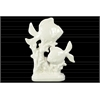 Porcelain Fish Family Sculpture on Coral Pedestal Gloss Finish White