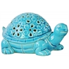 Ceramic Galapagos Tortoise Figurine with Cutout Flower Design Gloss Finish Blue
