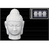 Ceramic Buddha Head with Rounded Ushnisha Three in a Pack Gloss Finish White