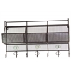 Metal Shelf and Coat Hanger with Mesh Backing, 3 Numbered Shelves and 7 Hooks Coated Finish Black