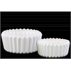 Ceramic Short Round Pot Set of Two Corrugated Gloss Finish White