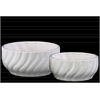 Ceramic Wide Round Pot with Tapered Bottom Set of Two Rippled Gloss Finish White