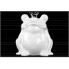 Ceramic Frog Figurine with Silver Crown Gloss Finish White