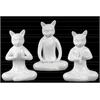 Ceramic Sitting Cat No Evil (Hear/Speak/See) Figurine Assortment of Three Gloss Finish White