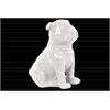Ceramic Sitting British Bulldog Figurine with Collar Gloss Finish White