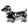 Ceramic Standing Dachshund Dog Figurine Polished Chrome Finish Silver