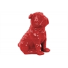 Ceramic Sitting British Bulldog Figurine with Collar Gloss Finish Red