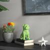 Ceramic Sitting British Bulldog Figurine with Collar Gloss Finish Green