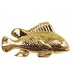Ceramic Sea Bass Fish Figurine Polished Chrome Finish Gold