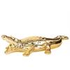 Ceramic Crocodile Figurine Polished Chrome Finish Gold