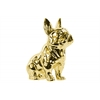 Ceramic Sitting French Bulldog Figurine with Pricked Ears Polished Chrome Finish Gold