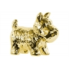 Ceramic Standing Welsh Terrier Dog Figurine Polished Chrome Finish Gold