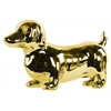 Ceramic Standing Dachshund Dog Figurine Polished Chrome Finish Gold