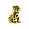 Ceramic Sitting British Bulldog Figurine with Collar Polished Chrome Finish Gold
