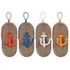 Metal Oval Wall Hook with 1 Hanger, Wood Board and 1 Anchor Design Hook Coated Finish Assortment of Four Colors (Yellow, Dark Blue, White, Red)