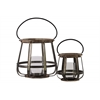 Wood Round Lantern with Handle Set of Two Natural Finish Brown