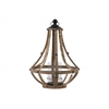 Wood Round Bellied Lantern with Ring Handle Natural Finish Brown
