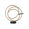 Metal Round Intertwined Rings Abstract Sculpture on Round Base LG Rust Finish Gold