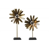 Metal Bloomed Flower Tabletop Ornament with Square Stand Set of Two Metallic Finish Gold
