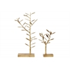 Metal Tree Tabletop Decor and Jewelry Holder on Rectangular Base Set of Two Rust Finish Gold