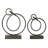 Metal Ring Abstract Sculpture Design on Rectangular Base Set of Two Rust Finish Gunmetal Gray