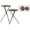 Metal Round Accent Table with Wood Parquet Design Top Set of Two Coated Finish Black