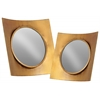 Metal Wall Mirror with Concave Square Wood Frame Set of Two Rustic Finish Gold